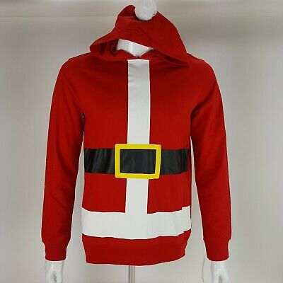 Mens Santa Suit Christmas Hooded Tee Shirt Size Medium or Large Long Sleeve NWT](Large Santa Suit)