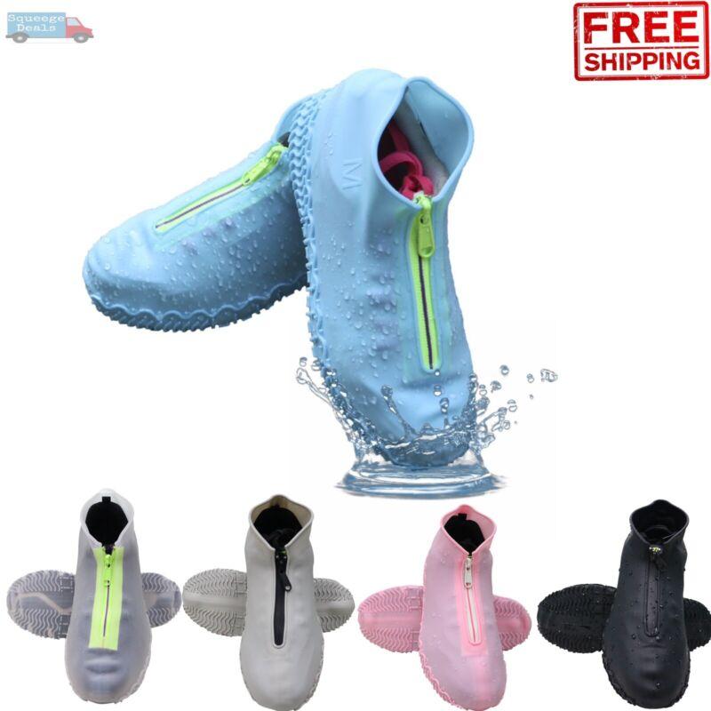 Anti-slip Silicone Zipper Reusable Rain Shoe Covers Waterproof Cover Protector
