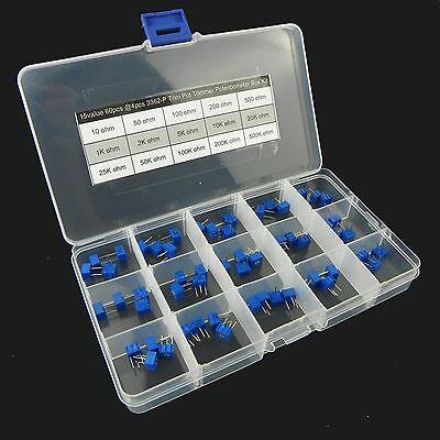 15value 60pcs 3362 Trim Pot Trimmer Potentiometer Assortment Box Kit