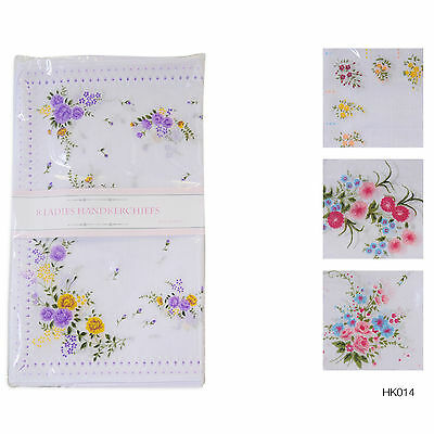 8 Pack Ladies White Hankies Floral Print Poly Cotton Handkerchiefs HK014