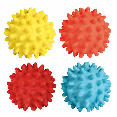 Trixie Latex Spiky Hedgehog Squeaky Ball Available In Yellow, Coral, Red & Blue