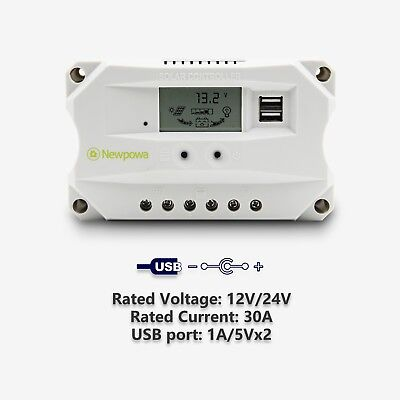 Newpowa 12V/24V 30A PWM Solar Panel  Regulator Charge Contro