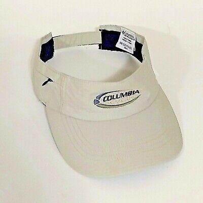 Columbia Sportswear Men's Beige Visor Hat Zipper Pocket Hook and Loop Closure Columbia Nylon Visor