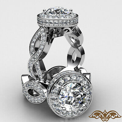 Cross Shank Filigree Halo Round Diamond Engagement Pave Set Ring GIA I SI1 2.8Ct
