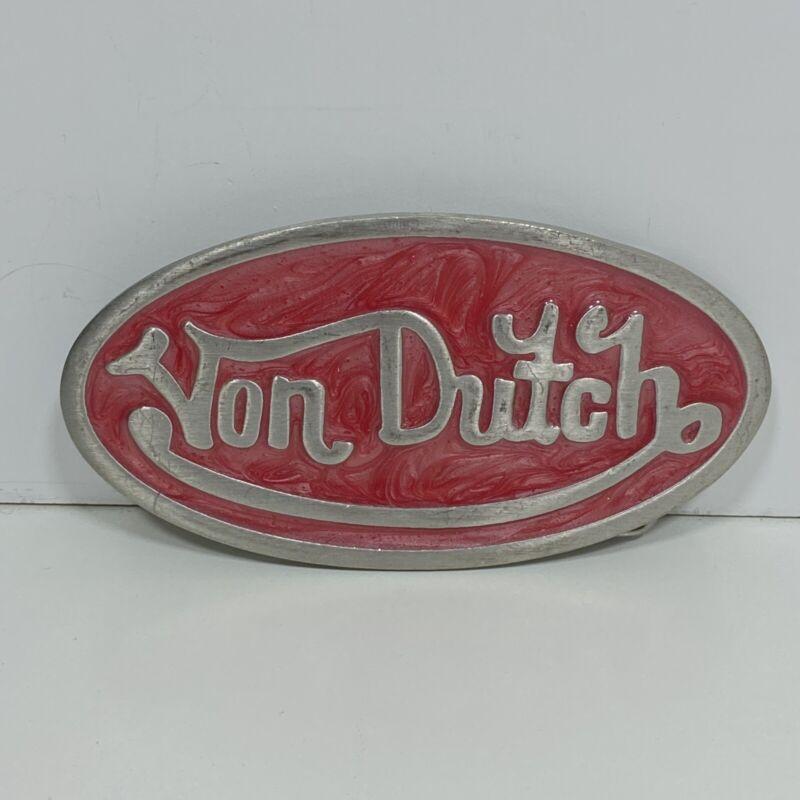 "Von Dutch Oval Belt Buckle Silvertone & Pink Swirl Enamel Inlay 4""x2"" USA Made"