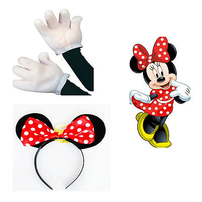 Minnie Mouse Fancy Dress Costume Accessories Red Black Ears White Gloves Ladies (Mouse Costume Accessories)