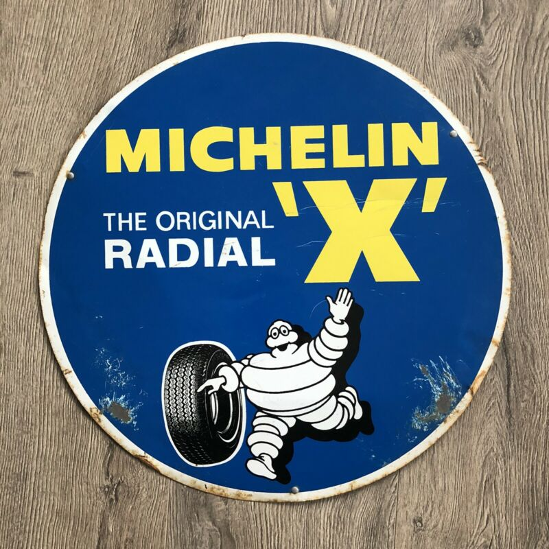 "VINTAGE 1959 METAL MICHELIN MAN X SIGN 16"" BIBENDUM RADIAL CAR BICYCLE TIRES OIL"