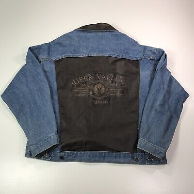 Vintage Tyca Deer Valley Denim Jacket Leather Embossed Size XL XXL Made In USA