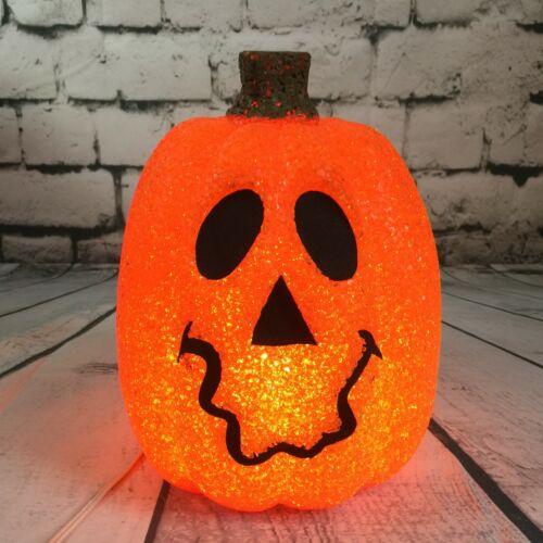Orange Seasons Halloween Light Up Jack O Lantern Melted Plastic Popcorn Pumpkin