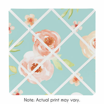 Turquoise Watercolor Floral Collection Fabric Memory Memo Photo Bulletin Board Fabric Memo Board