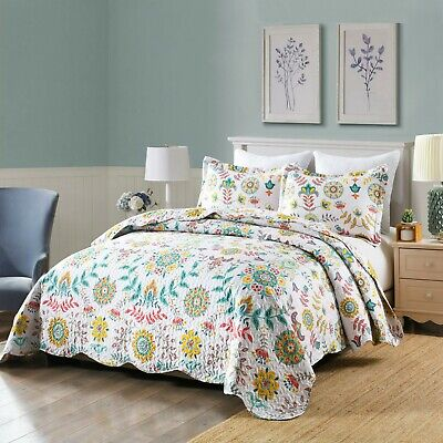 3Pc Quilt Bedspread Sets Bedding Coverlet Bedroom Floral Queen King Size, A96