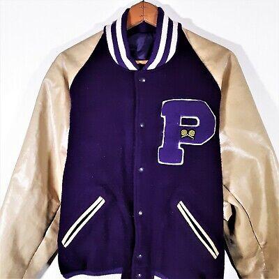 Vintage TM Athletics Varsity Letterman Jacket Leather Wool Bomber Coat USA 48 XL