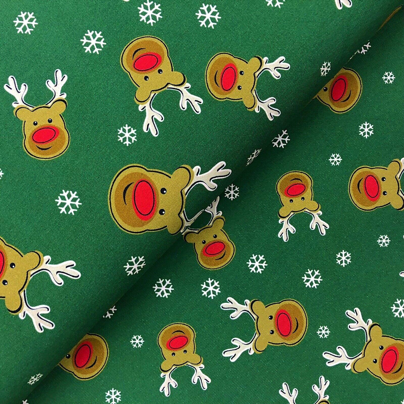Weihnachts Stoffe Jersey & Baumwolle & Sweat / 28 Motive Meterware Weihnachten Sweat Rentiere grün
