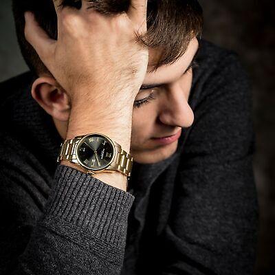 Men's Akribos XXIV AK1056YGN Date Gold Tone Stainless Steel Bracelet Watch