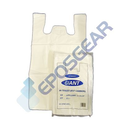 2000 Super Jumbo Plain White Vest Style Shopping Plastic Carrier Bags 16x25x29