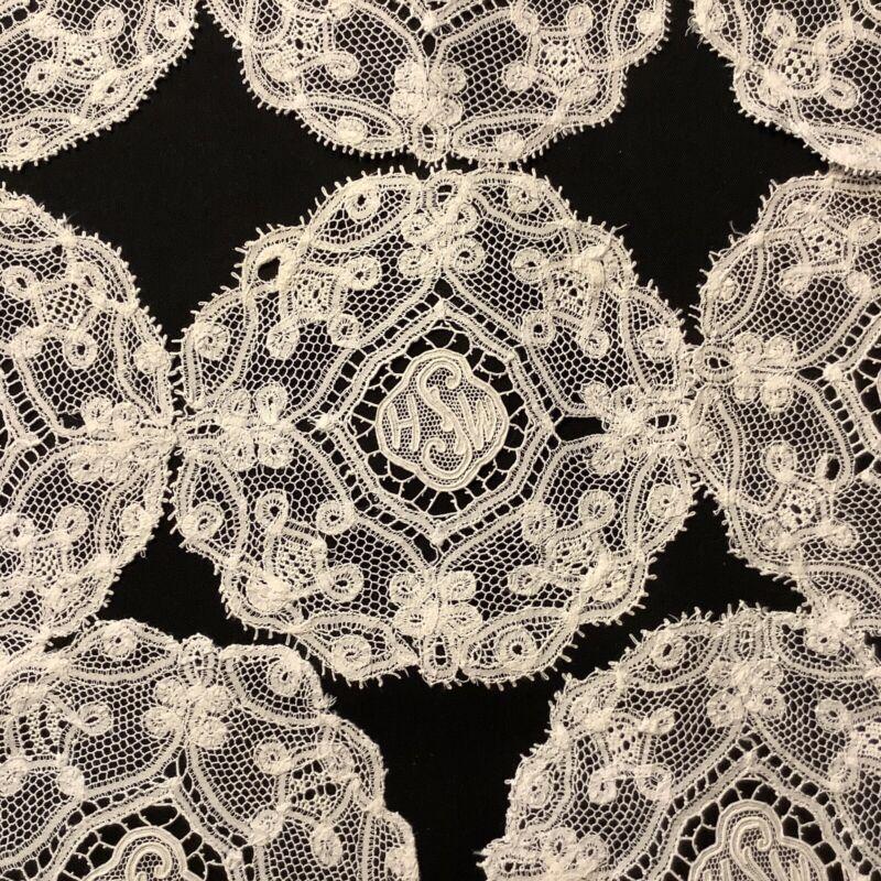 #6914🌟Lot Of (8) ANTIQUE Honiton Monogram Fine Lace Coasters