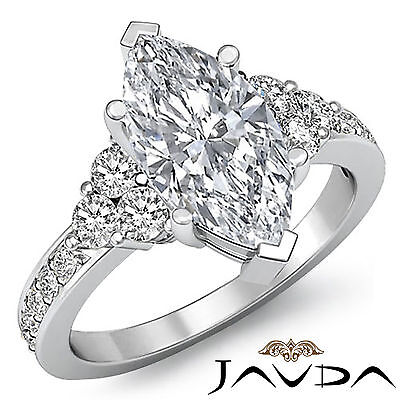 3 Stone Prong Setting Marquise Cut Diamond Engagement Ring GIA I Color VS2 1.5Ct