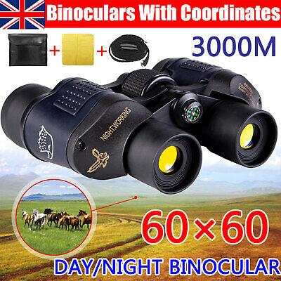 Day/Night HD Hunting Binoculars 60x60 5-3000M Waterproof Telescopes Coordinates