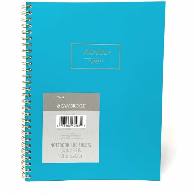 "Cambridge 6 5/8"" x 9 1/2"" Notebook 80 Sheets Teal"