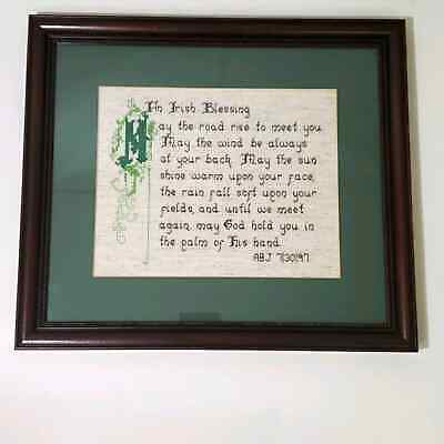 Vintage Framed Irish Blessing Cross Stitch