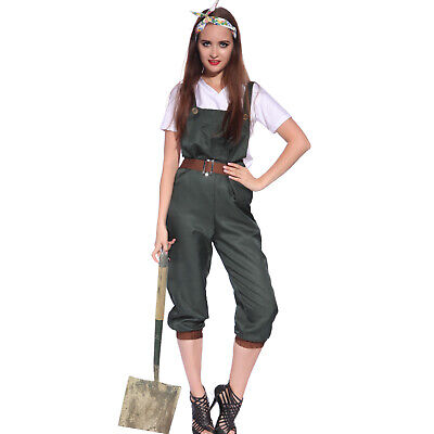 1940s Ladies WW2 World War 2 Land Girl Army Outfit Costume Strap Trousers](1940 Costume)