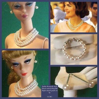 Barbie/Fashion doll jewellery JACKIE KENNEDY style TRIPLE PEARL set VARY FALL