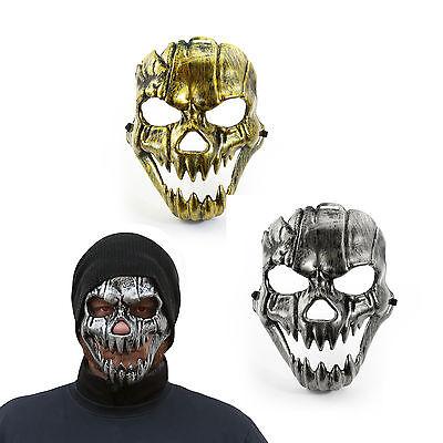 Maske Totenkopf Schädel metallisch glänzend Halloween Fasching Karneval (Totenkopf Halloween)