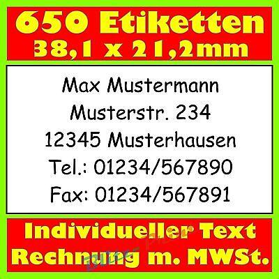 650 Absender-Etiketten Adress-Etikett Adress-Aufkleber bedr. m. Text nach Wunsch