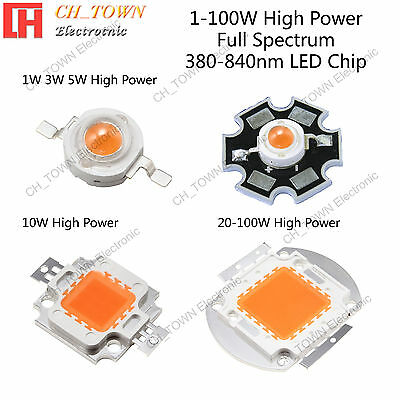 Full Spectrum 380-840nm 1w 3w 5w 10w 20w 30w 50w 100w High Power Led Chip Lights