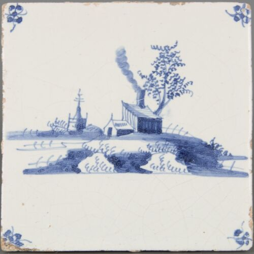 Nice Dutch Delft Blue tile, landscape with church and farm, late 17th century.