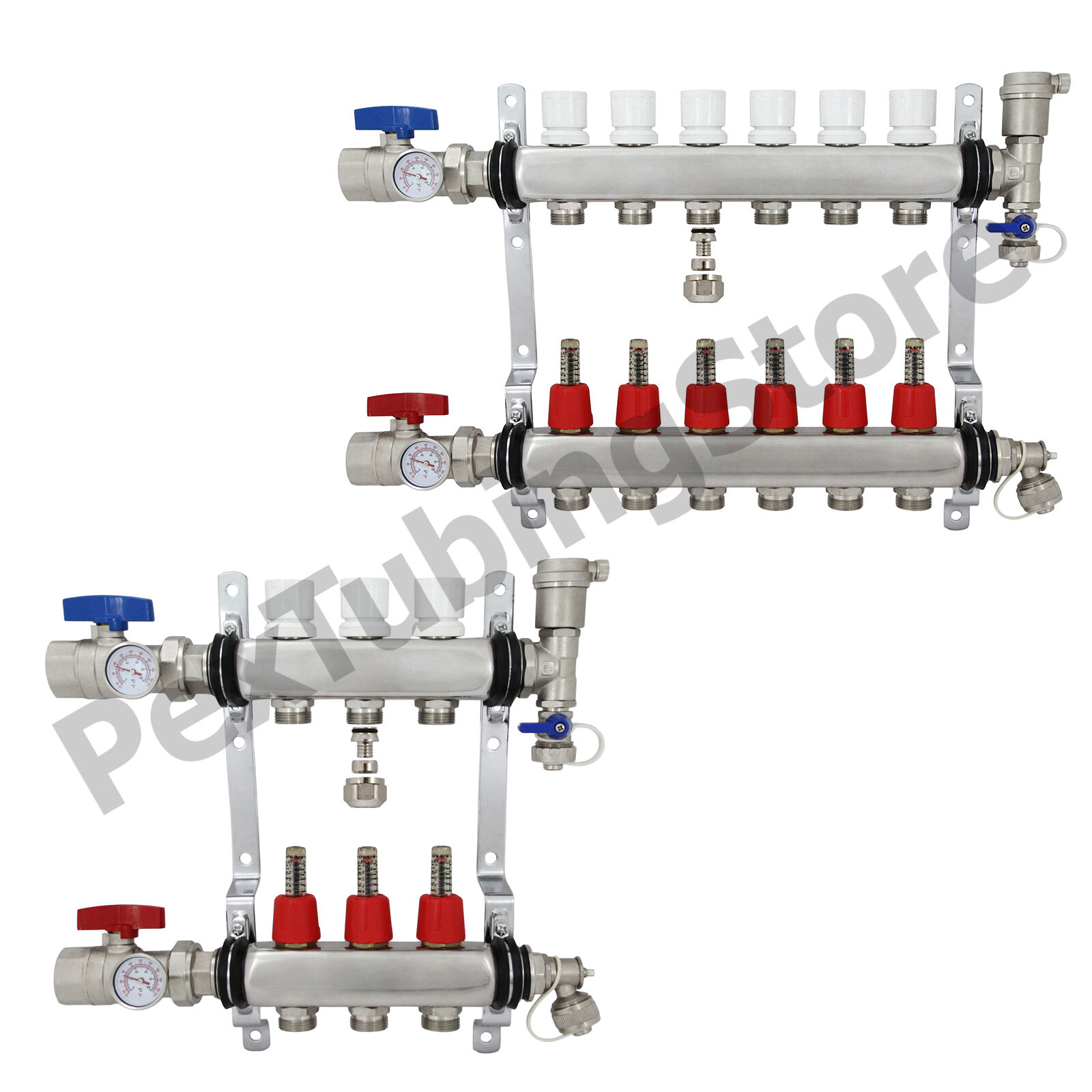 Купить 2 - 12 Branch Sizes: PEX Radiant Floor Heating Manifold Set - Stainless Steel