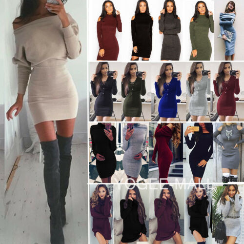 Dress - Womens Fall Winter Long Sleeve Jumper Sweater Tops Slim Party Bodycon Mini Dress