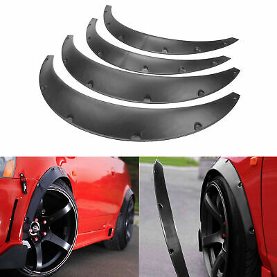 4X Auto Car Body Fender Flares Flexible Durable Polyurethane Kit Universal Black