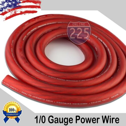 25 Ft True 1/0 0 AWG Gauge Power Positive Wire Strand Cable 25