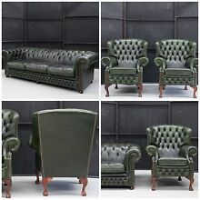 BARGAIN - Vintage English Leather 4 Seat Chesterfield & 2 Wing Chairs Hemmant Brisbane South East Preview