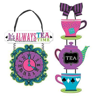 Mad Hatter Tea Party Wonderland Alice Hanging Wood Sign Wall Party (Tea Party Dekorationen)