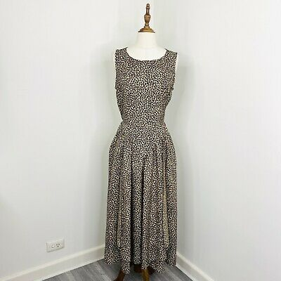 80s Dresses | Casual to Party Dresses Vintage Sally Browne Womens Maxi Dress Leopard Print Quirky Arty Size 12  $67.36 AT vintagedancer.com