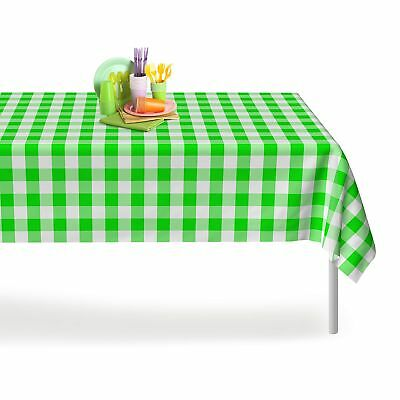 Green Checkered Gingham 12 Pack Premium Disposable Plastic Tablecloth 54 Inch...