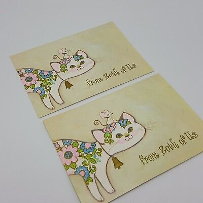 Mid-century Kitty Cat Kitten Greeting Card Green Pink Buzza Cardoza Thank you