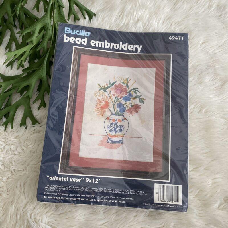 "NEW Bucilla Bead Embroidery Floral Oriental Vase 9"" X 11"""