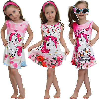 Einhorn Mädchen Kinder Sommer Kleid mit Motiv Unicorn Pferd Paris Katze Strand online kaufen