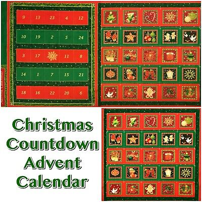 51816 Christmas Countdown Traditional Red + Green Advent Calendar Fabric Panel  ()