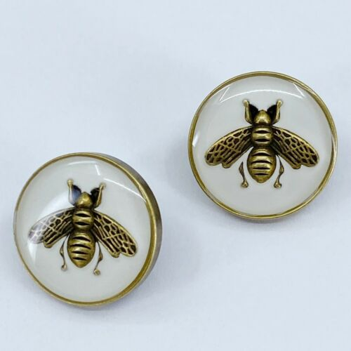 One Pair Authentic GUCCI Buttons, Classic Bee, Metal 18mm Designer Art Buttons