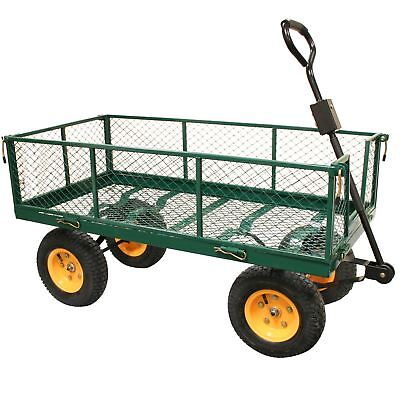 Rhyas Heavy Duty Garden Trolley Cart 4 Wheel barrow Quad Trailer Large 500kg