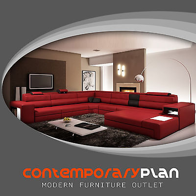 (Dark Red / Black Italian Leather Polaris Sectional Sofa 5022 Lights and Ottoman)