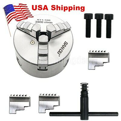K11-100 Metal Lathe Chuck 3 Jaw 100mm Self Centering Reversible Jaw Cnc Us