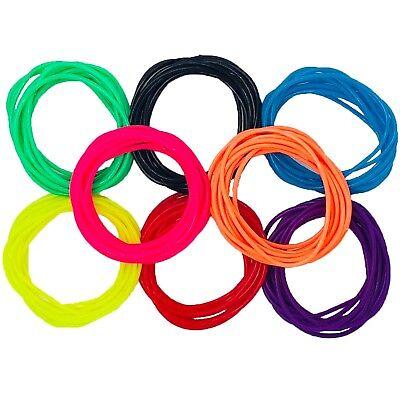 Neonfarbene Kostüme (Gummiartig Armbänder Neonfarben Bänder 80s Jahre Maskenkostüm Zubehör Disco)