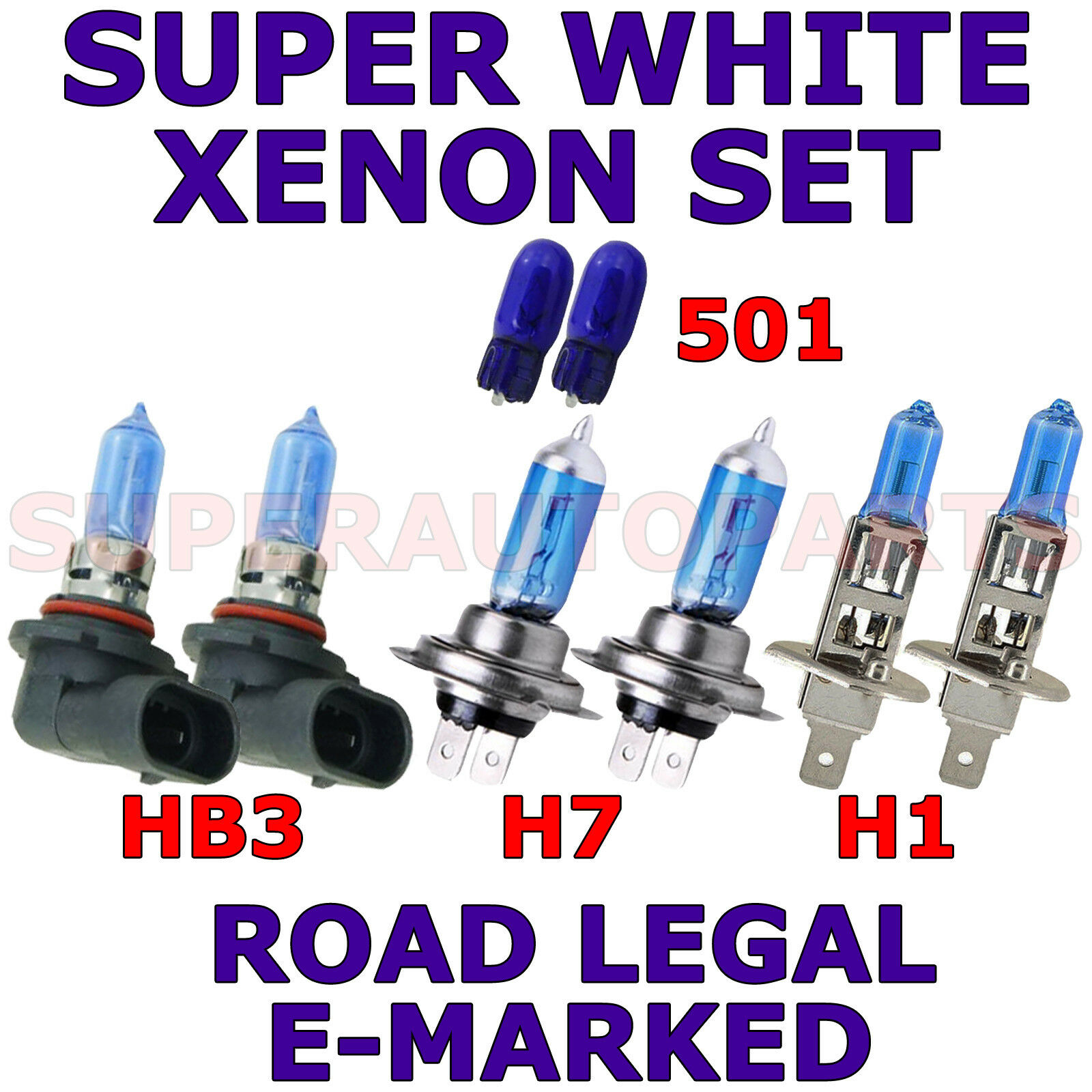 FITS RENAULT CLIO 1998-01 SET OF H1 HB3 H7 501 HALOGEN SUPER WHITE LIGHT BULBS