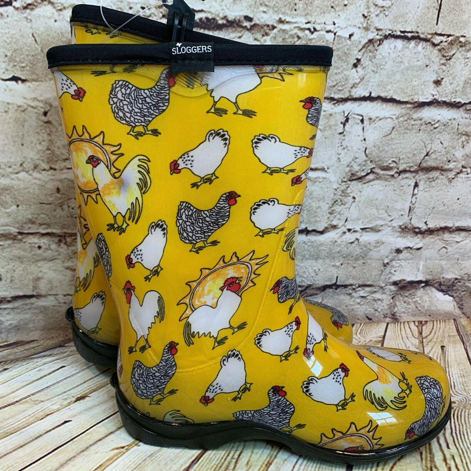 Sloggers Chicken Garden Boots Womens Yellow Mid Calf Waterpr