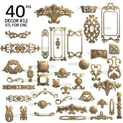 3d Stl Model Cnc Router Artcam Aspire 40 Pcs Decor Collection Pack 12